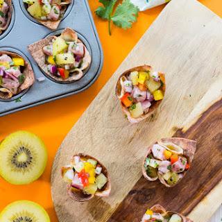 Tuna Poke Wonton Bites with Kiwi Salsa.