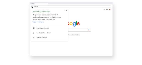 Een informatiescherm over browsen met HTTPS-beveiliging