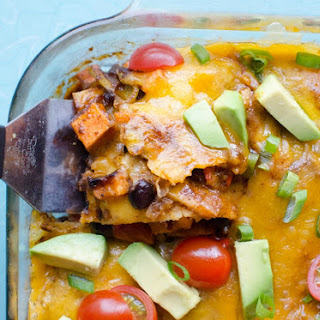 Roasted Sweet Potato and Black Bean Enchilada