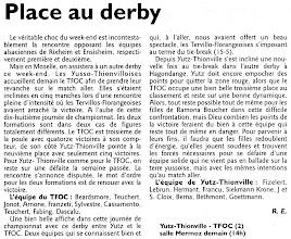 Photo: 27-03-11 N3F 2è manche du derby face à Terville-Florange