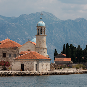 Our Lady of the Rocks by . Reedd2 - Landscapes Waterscapes ( water, montenegro, mountains, islet, our lady of the rocks, church, the gulf of kotor, island )