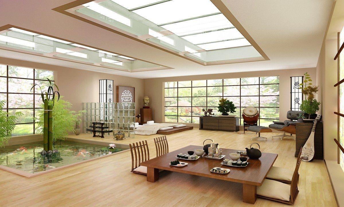 Trong phòng khách kiểu Nhật không thể thiếu sự kết hợp với cây xanh