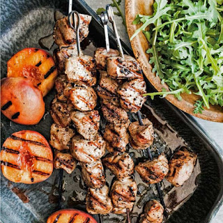 Grilled Pork Skewers with Peaches.
