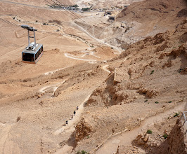 Photo: Masada visitors' center, tram and snake pathway