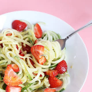 Healthy Spiralized Cucumber Strawberry Noodle Salad.