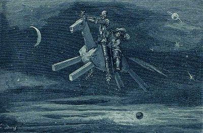 Don Quijote y Sancho Panza a lomos de Clavileño