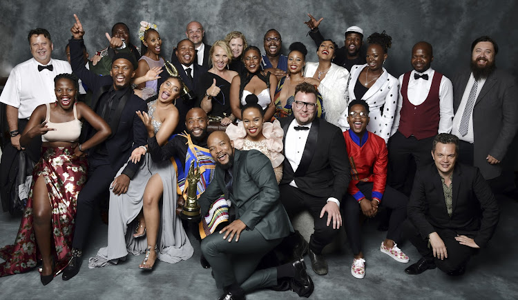 The cast of The River posing after winning the Best Telenovela award - actress Moshidi Motshegwa did not take part in the picture taking it would seem.