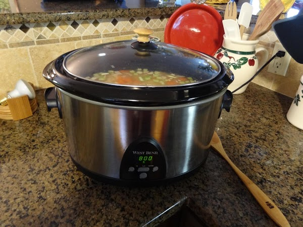 Put all ingredients in crockpot.  Cook on low 6 hours or longer.