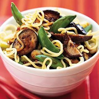 Asian Noodle Salad with Eggplant, Sugar Snap Peas, and Lime Dressing Recipe | Epicurious.Com Recipe