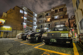 Photo: A small parking area along a side street in Kagurazaka.  This was taken during the 2012 Worldwide Photowalk