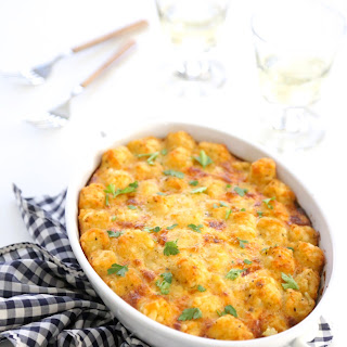 Smoked Sausage and Spinach Tater Tot Breakfast Bake.