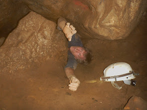 Photo: David trying to get back out through Fat Man Squeeze