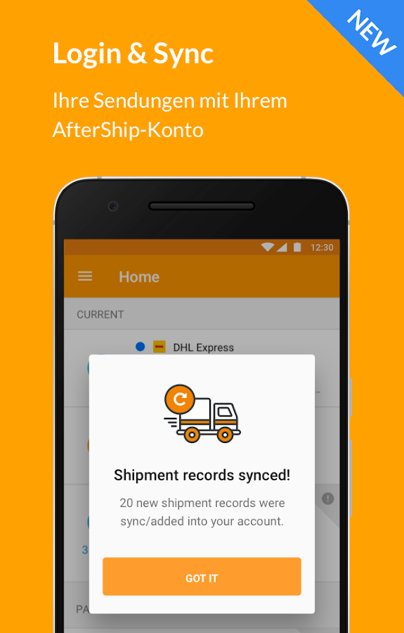 AfterShip Sendungsverfolgung – Screenshot