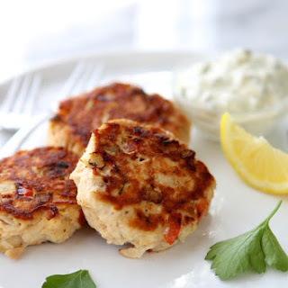 Tuna and Red Pepper Patties with Homemade Tartar Sauce.