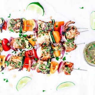 Easy Grilled Salmon Kebabs With Homemade Chimichurri Sauce.