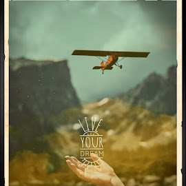 Dream by Dorothy Day - Typography Captioned Photos ( flight, mountains, text, freedom, nature, airplane )