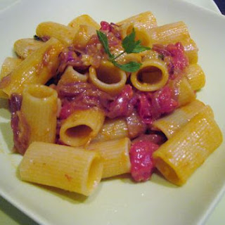 Rigatoni With Roasted Plum Tomatoes, Caramelized Red Onions, And Fresh Mint