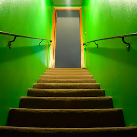 Basement by Savannah Eubanks - Buildings & Architecture Other Interior ( door, green, stairs, doorway, staircase )