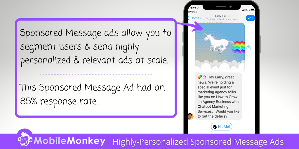 best Facebook retargeting strategy: Personalized Sponsored Message ads