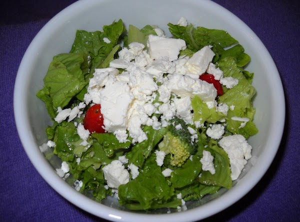 Step one: make a salad -- you know how. I added my feta cheese...