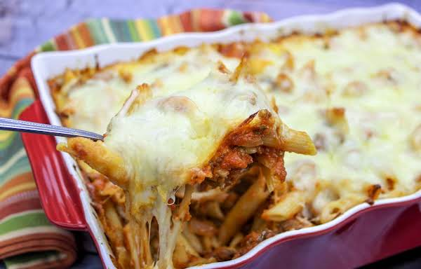 Baked Mostaccioli With Gooey Cheese.