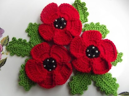 Knitting Patterns For Christmas Brooches : Crochet Flowers - Android Apps on Google Play