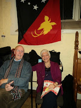 Photo: Norman and Mena Shackley, who manned the barall evening. Norman is the former Chairman ofBritish Friends of Vanuatu (BFoV) [Picture courtesyof Felix Kipalan, studying in Leeds.]