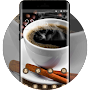 Coffee theme table grains saucer cup wallpaper APK icon
