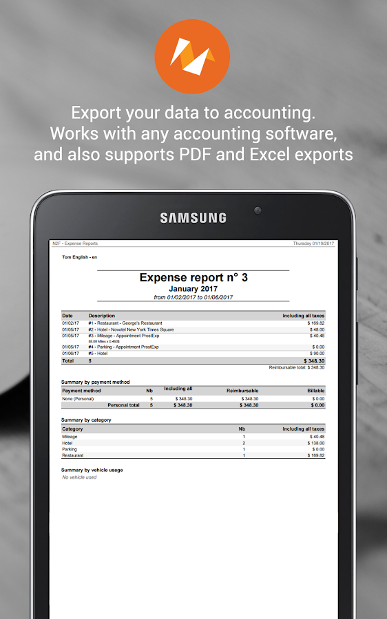 N2F - Expense Reports- screenshot