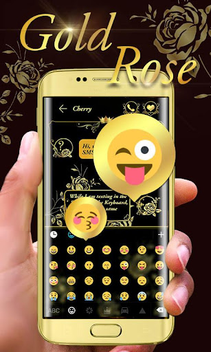 Gold Rose GO Keyboard Theme Screenshot
