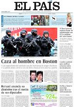 Photo: Caza al hombre en Boston, Bersani anuncia su dimisión tras el motín de sus diputados y el fiscal general ordena acusar de colaboración con ETA a policías del 'caso Faisán', en la portada de EL PAÍS, edición nacional, del sábado 20 de abril de 2013 http://cort.as/3ujX