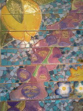 Photo: Saturday, July 20, 2013 Hidden Garden Steps ceramic-tile mosaic preview at St. John of God community hall in San Francisco's Inner Sunset District: Detail of the bottom half of the Diablo Fairy Lantern, which will extend down the second and third flights on the top third of the Steps, to the left of the fern and Foxglove. Project artists Aileen Barr and Colette Crutcher completed the Diablo Fairy Lantern as part of the 148-step mosaic to be installed on 16th Avenue, between Kirkham and Lawton streets in San Francisco. For more information about the Hidden Garden Steps project, please visit http://hiddengardensteps.org.