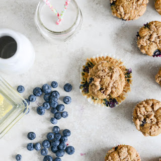 Whole Wheat Blueberry Yogurt Crumb Muffins