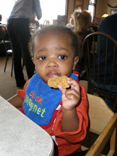 Photo: keon eating a chicken nugget
