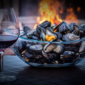 Fire and Wine by Rita Taylor - Food & Drink Plated Food ( wine, fish, fun, fire,  )