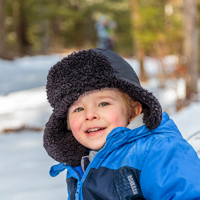 winter hike by Jeff McVoy - Babies & Children Children Candids ( coat, blue, cheeks, snow, winter, hat, hike, eyes, child, smile )