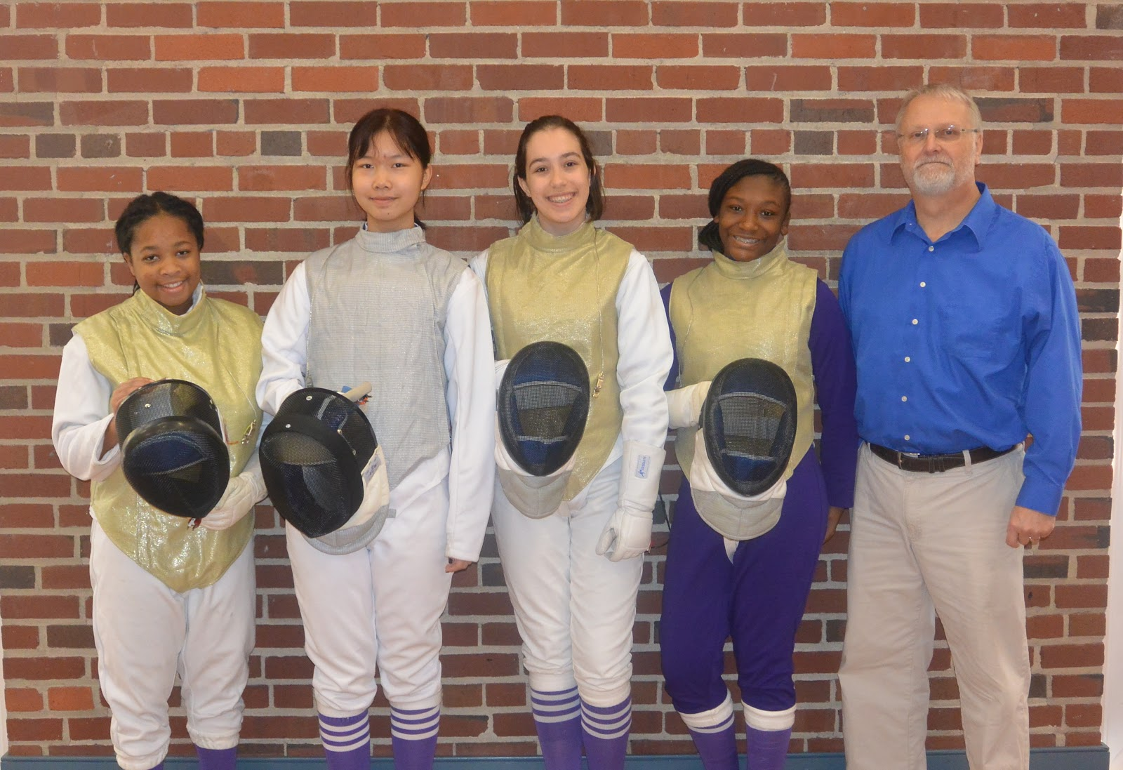 Fencing Athletes and Coach