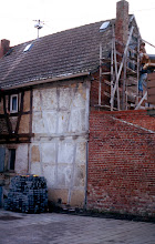 Photo: Here the scaffolding is on the backside of the main house.