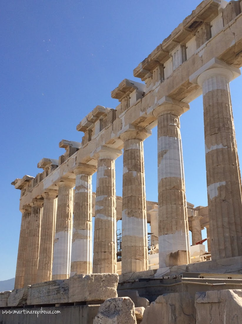 The Doric columns of Parthenon, Acropolis, Athens, Greece