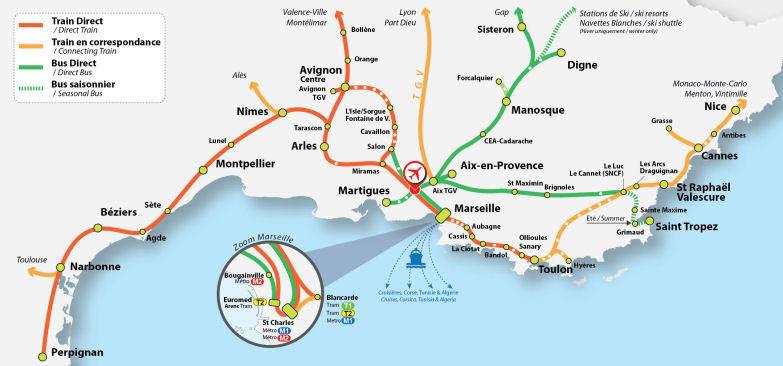 Схема маршрутов поездов на юге Франции