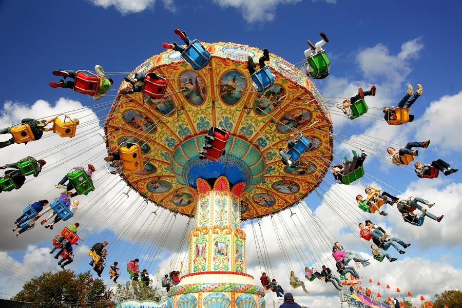 Fall Fair Ride by Peter K. Burian - City,  Street & Park  Amusement Parks ( fall fair ride, rides, amusement park, colorful, fall fair,  )