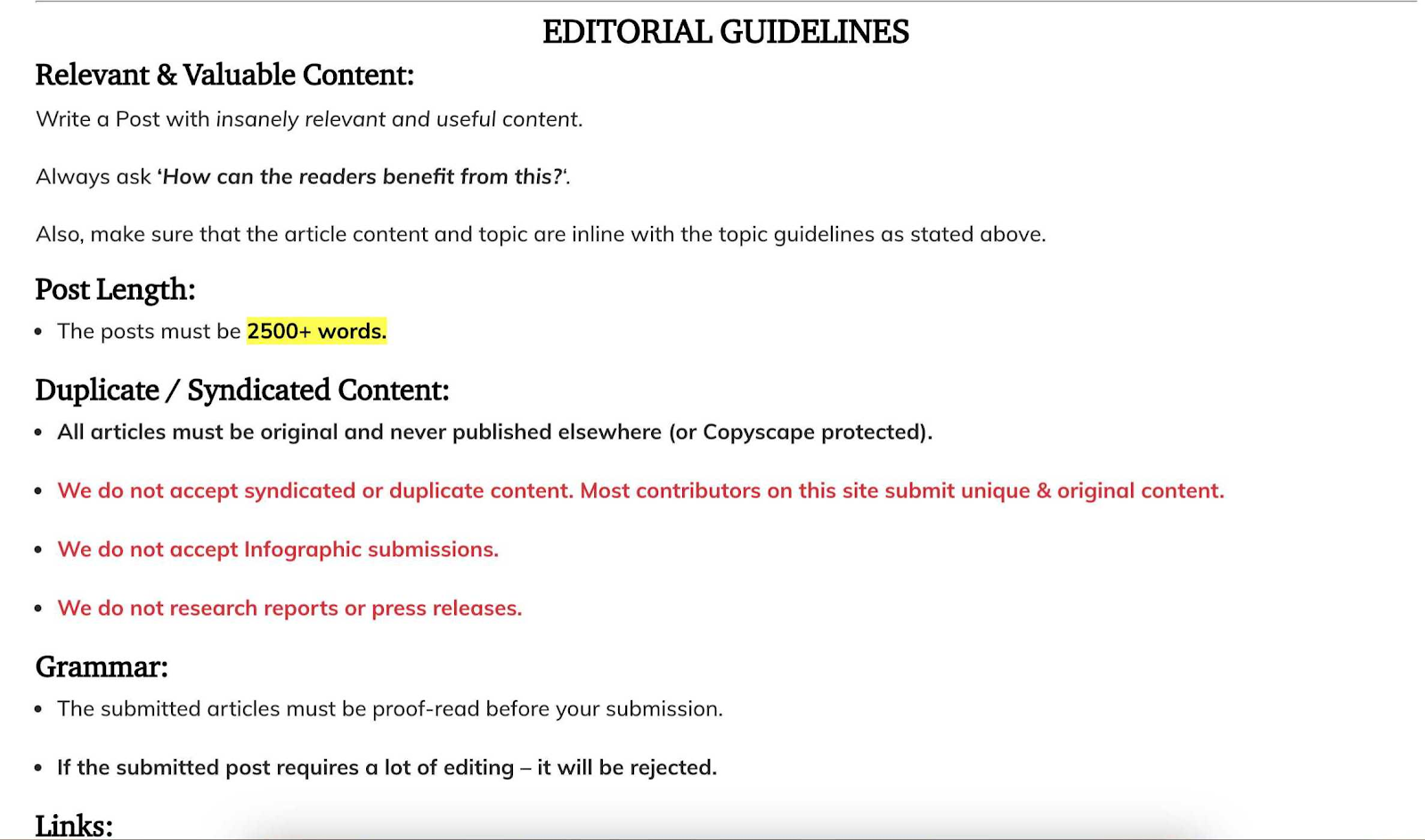 sample guest blog post editorial guidelines