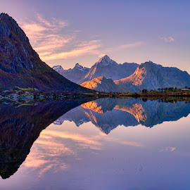 Sunrise in Lofoten by John Aavitsland - Landscapes Waterscapes ( mountains, norway, autumn, silence, lofoten, landscape, morning )