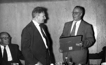 Photo: George Ostiguy, Ernest Szekely (Society President 1952), Bunny Stotesbury (1st Ottawa President holds Charter)