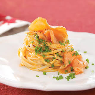 Salmon and Red Pepper Pesto Linguine.