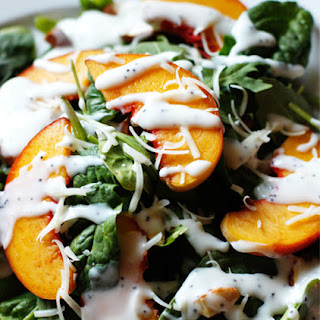 {Recipe} Peach and Spinach Salad with Poppy Seed Yogurt Dressing