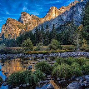 The Three Brothers by David Pilasky - Landscapes Mountains & Hills ( mountains, waterscape, yosemite, yosemite national park, three brothers )