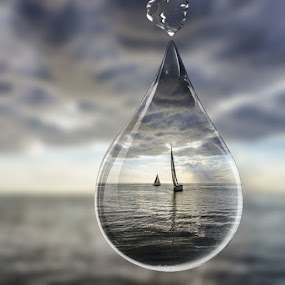 Droplet before the storm by Ms Lyons Photography - Digital Art Things ( droplet, ocean, rain, yachts )