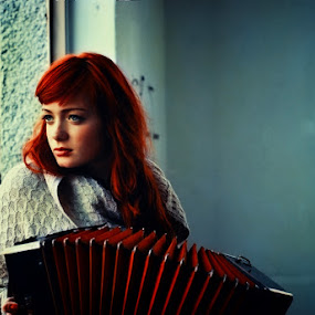 by Veronica Gafton - People Portraits of Women ( accordion, red, blue )