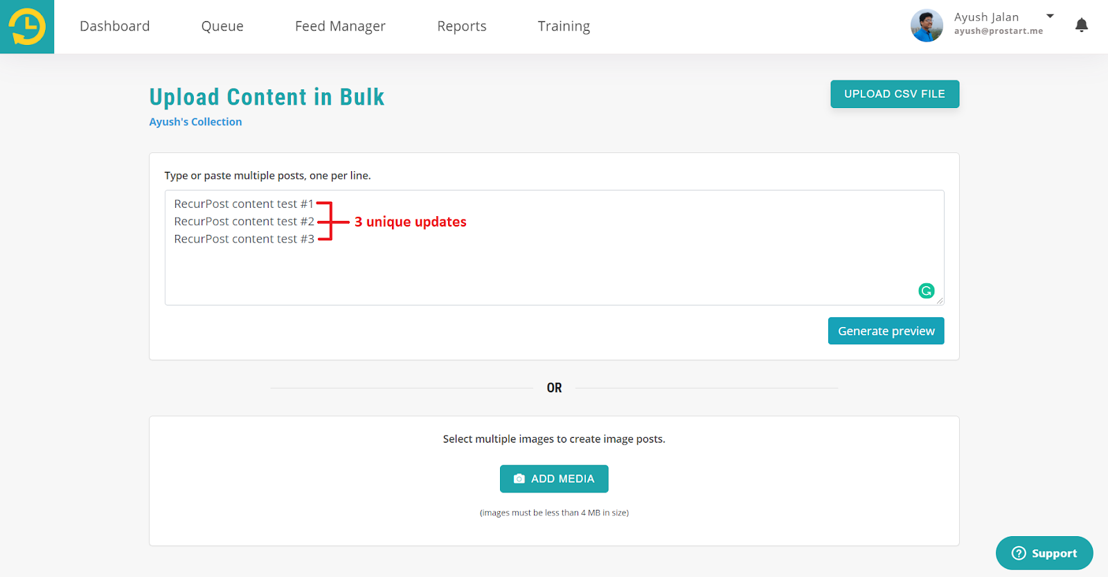 For Text/Link Posts for bulk update - recurpost - social media scheduler